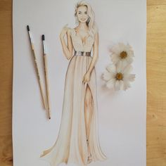 Fashion Illustration Speed Painting with Ink - Drawing On Demand Dress Design Sketches, Fashion Design Sketchbook, Fashion Design Drawings, Fashion Sketches, Fashion Drawing Dresses, Fashion Illustration Dresses, Dress Illustration, Fashion Illustrations, Lady Grace
