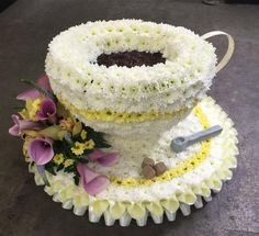 A delicate tea cup with matching saucer can be made in any colour. Funeral tribute of mug, cup, coffee, tea. Funeral flowers delivered to Aldershot Funeral Floral Arrangements, Flower Arrangements, Floral Cake, Arte Floral, Funeral Tributes, Corporate Flowers, Sympathy Flowers, Flowers Delivered, Flower Tea
