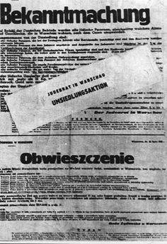 Warsaw, Poland, German notice of an aktion in the ghetto.