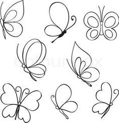 """the royalty-free vector """"Set of hand drawn butterflies"""" designed by at the lowest price on . Browse our cheap image bank online to find the perfect stock vector for your marketing projects! Doodle Drawings, Easy Drawings, Embroidery Patterns, Hand Embroidery, Butterfly Embroidery, Native Beading Patterns, Border Design, Painted Rocks, Coloring Pages"""