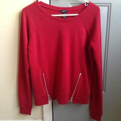 Red zipper sweater This red rue 21 sweater is in perfect condition! No flaws at all  Don't miss out #rue21 #red #zipper #moto #winter #spring Rue 21 Sweaters