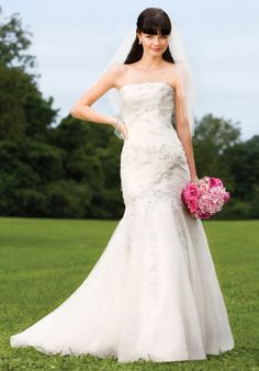 Mermaid Strapless Floor Length Attached Net Over Satin Embroidery/ Lace Wedding Dress Style