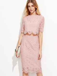 Pink Open Midriff Floral Lace Dress