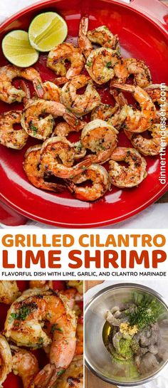 Grilled Cilantro Lime Shrimp is an easy recipe with a marinade of lime juice, olive oil, garlic and cilantro you can grill indoors or out in 30 minutes! #dinner #shrimp #grilling #grilledshrimp #lime #dinnerthendessert Chili Lime Shrimp, Spicy Shrimp Recipes, Cilantro Lime Shrimp, Top Recipes, Side Dish Recipes, Wine Recipes, Real Food Recipes, Quick Easy Healthy Meals, Lean And Green Meals