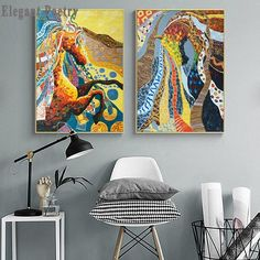 """""""Abstract Nordic Color Painting Animal Horse Canvas Art Wall Print Poster Picture Living Room Bedroom Modern Home Decoration"""" Bedroom Modern, Living Room Bedroom, Wall Prints, Canvas Prints, Poster Pictures, Abstract Wall Art, Print Poster, Animal Paintings, Paint Colors"""