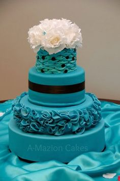 Malibu and Chocolate Wedding Cake - by miracletaz @ CakesDecor.com - cake decorating website