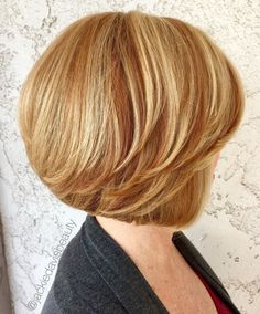 50 Modern Haircuts for Women over 50 with Extra Zing - - Feathered Golden Blonde Bob With Bangs Stacked Bob Hairstyles, Short Layered Haircuts, Long Bob Haircuts, Medium Bob Hairstyles, Modern Haircuts, Haircuts With Bangs, Short Hair Cuts, Pixie Haircuts, Braided Hairstyles