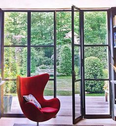 Aluminium windows (Mondrian style) leading onto terrace, level threshold Aluminium French Doors, Aluminium Windows And Doors, Internal French Doors, Steel Windows, Garden Doors, Patio Doors, Crittal Doors, Crittall Windows, Windows