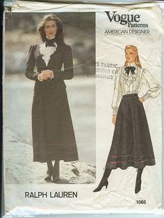 Vogue American Designer 1065; ca. 1980s; Ralph Lauren - Misses' Jacket, Skirt and Blouse. Semi-fitted, lined, above hip jacket has notched collar, shoulder, pads, princess seams and welt pockets with flaps. Full length, two-piece sleeves have pleated cap and button and fold-back cuffs at lower edge. Flared, gored skirt, below mid-calf, has waistband, slanted pockets and back zipper. Purchased trim. Loose-fitting blouse has standing collar, front ruffle, band and tucks
