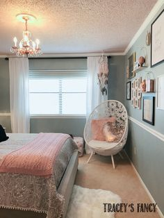 Rose Gold und Gray Girls Schlafzimmer Makeover Gray and Rose Gold Girls Bedroom by Tracey's Fancy - Mobilier de Salon Rose Gold And Grey Bedroom, Rose Gold Rooms, Rose Gold Room Decor, Bedroom Ideas Rose Gold, Pink Gold Bedroom, Fancy Bedroom, Pink Bedroom Decor, Girls Bedroom Decorating, Bird Bedroom
