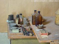"""Morandi's studio Production still from the short documentary """"Morandi's Dust"""", directed by Mario Chemello (2009), shot in the studio of the famous Italian painter Giorgio Morandi. Produced by Imago Orbis and Museum of Modern Art of Bologna."""