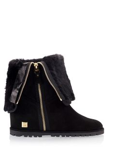 0474099c57a6 Ballin Black Suede leather Wedge heel Shearling Boots