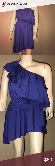 Blue one shoulder ruffle dress Flirty blue one shoulder dress with ruffle; great for anything summer! Miss Sixty Dresses Mini