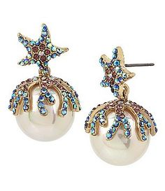 Betsey Johnson Starfish Pavé Capped Faux-Pearl Drop Statement Earrings