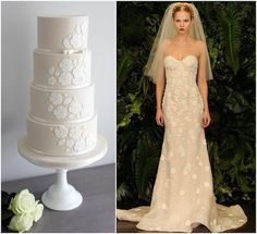 For this detailed four-tier cake, Cove Cake Design looked to Naeem Khan's fall/winter 2014 collection - and took cues from the delicate appliqué flowers that feature along the bodice of the gown. Beautiful!