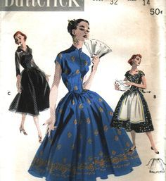 Butterick 7617 Vintage 1950s Dress with Mandarin Collar and Daydress with Apron…