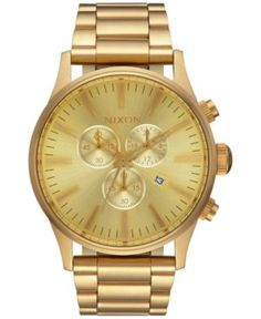Nixon Men's Sentry Chronograph Gold-Tone Stainless Steel Bracelet Watch 42mm A386-502-00 - Gold