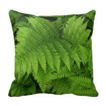 Green Fern Leaves Pillow