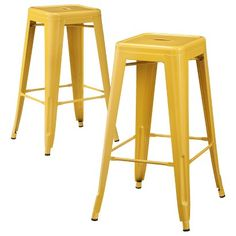 Canary yellow bar stools from Target. Carlisle Metal Bar Stool - Set of 2 Metal Counter Stools, Metal Stool, Metal Dining Chairs, Bar Chairs, Eames Chairs, Room Chairs, Wooden Stools, Backless Bar Stools, Bar Seating