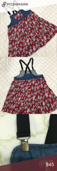 Denim Overalls daisy print Red Dress, size large Used, has a wearing lining in the side, picture has been posted displaying it. Great for music festivals, country side, trendy. Size large may fit medium My Michelle Dresses Asymmetrical