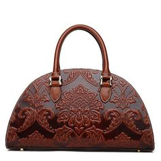 Retro Dark Brown Leather Floral Pattern D Shape Chinese Style Totes - iDreamMart.com