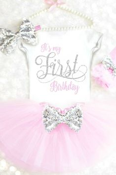 First Birthday Outfit Girls 1st Birthday Outfit Pink and Silver Its my First Birthday Onesie First Birthday Tutu Outfit Cake Smash Outfit #firstbirthdayoutfit #pinkandsilver #1stbirthdayoutfit