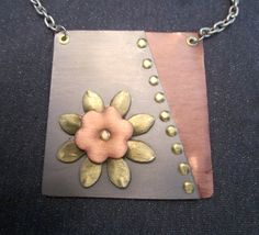 pendant necklace mixed metals necklace mixed by FirednWiredJewelry