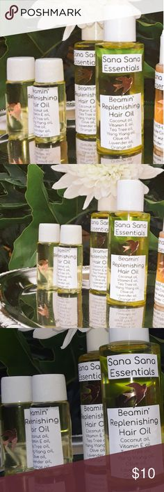 Beamin' Replenishing Hair Oil Coconut oil, Olive oil, Vitamin E oil, Tea Tree oil, lavender and Orange oil Makeup