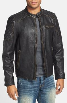 Because = men.  Woof.  Black Rivet Diamond Quilted Leather Moto Jacket | Nordstrom