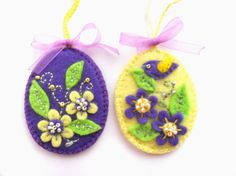 Easter ornaments Felt Easter eggs ornaments by bboutiquebeauties, $10.00