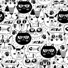 Cat faces pattern background Free Vector