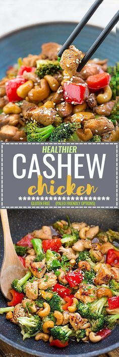 Healthy Cashew Chicken - an easy 20 minute guilt-free gluten free skinny version (plus paleo friendly options) of the popular classic Chinese takeout dish. Plus a serving of tender crisp broccoli and red bell peppers for a healthier meal. Best of all, this recipe comes together in less than 25 minutes in just one pan! Perfect for busy weeknights!