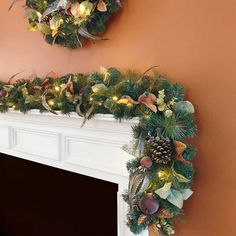 Indoor Artificial Pre Lit Garland 50 LED Lights Frosted Fruit Wall Mantle 9 Foot #Unbranded