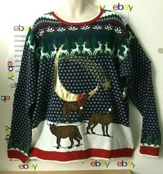 New 3 WOLVES Moon Ugly CHRISTMAS Wolf SWEATER MEN'S 2XL NEW W/TAG. mens ugly christmas sweater Elf Hat, Santa Hat, Mens Ugly Christmas Sweater, Wolf Moon, Pompano Beach, Christmas Humor, Nightmare Before Christmas, Mens Xl, Being Ugly