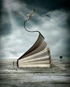 every book opens to a new adventure. Wonderful photo manipulation. Artist: unknown