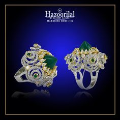 Light up any occasion with this bold statement ring in #Emerald and #Diamonds from the House of #HazoorilalBySandeepNarang #Rings #finejewelry #Hazoorilal