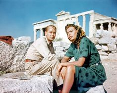 Sophia Loren with Alan Ladd during ''Boy On A Dolphin'' at Acropolis,Athens,Greece - 1957