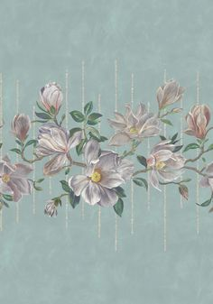 Magnolia flowers and leaves sampled from a hand-painted illustration, enlarged and set mid-wall hanging from slender bamboo poles. Shown here in an aqua and ochre colourway. The mural shown comprises three separate panels. Sorry samples not available. Scenic Wallpaper, Wall Wallpaper, Magnolia Wallpaper, Osborne And Little Wallpaper, Gelli Printing, Magnolia Flower, Burke Decor, Designers Guild, Leaf Prints