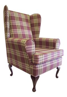 Wing Back Queen Anne Chair Heather Tartan Fabric ebay 199