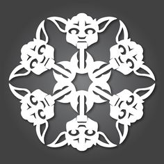 DIY Paper Yoda Snowflakes