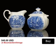 Sugar Bowl and Creamer Liberty Blue Staffordshire This is a beautiful covered sugar bowl and creamer set. It was made in England and is Staffordshire Ironstone.   #sugar #creamer #libertyblue #staffordshire #ironstone #vintage #mountainairevintage