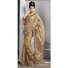Beige color glass tissue saree is with embroidered motifs work