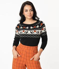 Unique Vintage Halloween Witch Pattern Lorelai Sweater