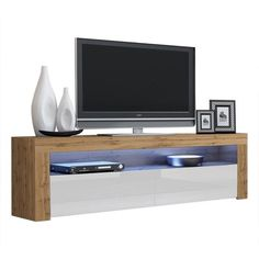 Milano Classic Modern 16 color 63-inch TV Stand | Overstock.com Shopping - The Best Deals on Entertainment Centers - Gray/Wavy Black Living Room Storage, Living Room Furniture, Storage Spaces, Black Tv Stand, Tv Rack, Cool Tv Stands, Best Tv Stands, Modern Tv, Entertainment Room