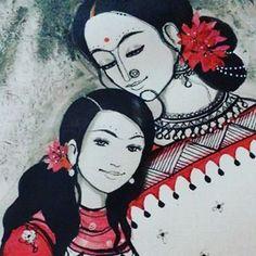 Modern Indian Art, Indian Folk Art, Rajasthani Art, Bengali Art, Indian Art Paintings, Acrylic Paintings, 3d Chalk Art, Art Village, Mother Art