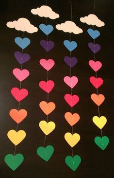 Rainbow & cloud garland, rainbow birthday party, pride, over the rainbow - DIY Papier - Birthday Valentine's Day Crafts For Kids, Valentine Crafts For Kids, Summer Crafts, Toddler Crafts, Preschool Crafts, Easter Crafts, Diy Valentine, Valentines Door Decor, Paper Crafts Kids