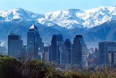 Santiago skyline against Andes Mountain Range backdrop