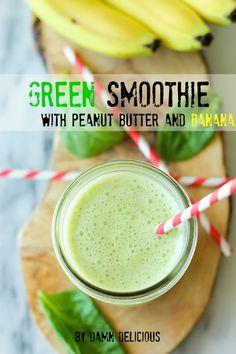 1 cup spinach leaves 1/2 banana, sliced 1/2 cup 2% milk 1/4 cup vanilla Greek yogurt 1 teaspoon creamy peanut butter 1 teaspoon honey