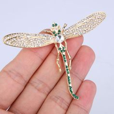 Animal-Insect-Dragonfly-Cute-Brooch-Pin-Austrian-Crystal-Green-Gold-GP-E199
