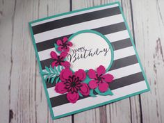 Botanical Builder Birthday Card created by Sarah's Stampin' Retreat using the Botanical Builder dies and Pop of Pink Designer Series Paper from Stampin' Up